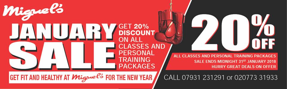 Miguels boxing gym January sale