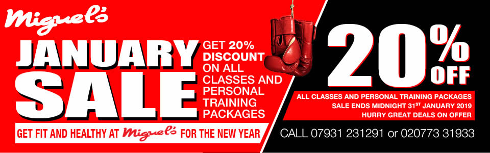 Miguels Boxing Gym South London NEW YEAR 2019 Sale Banner